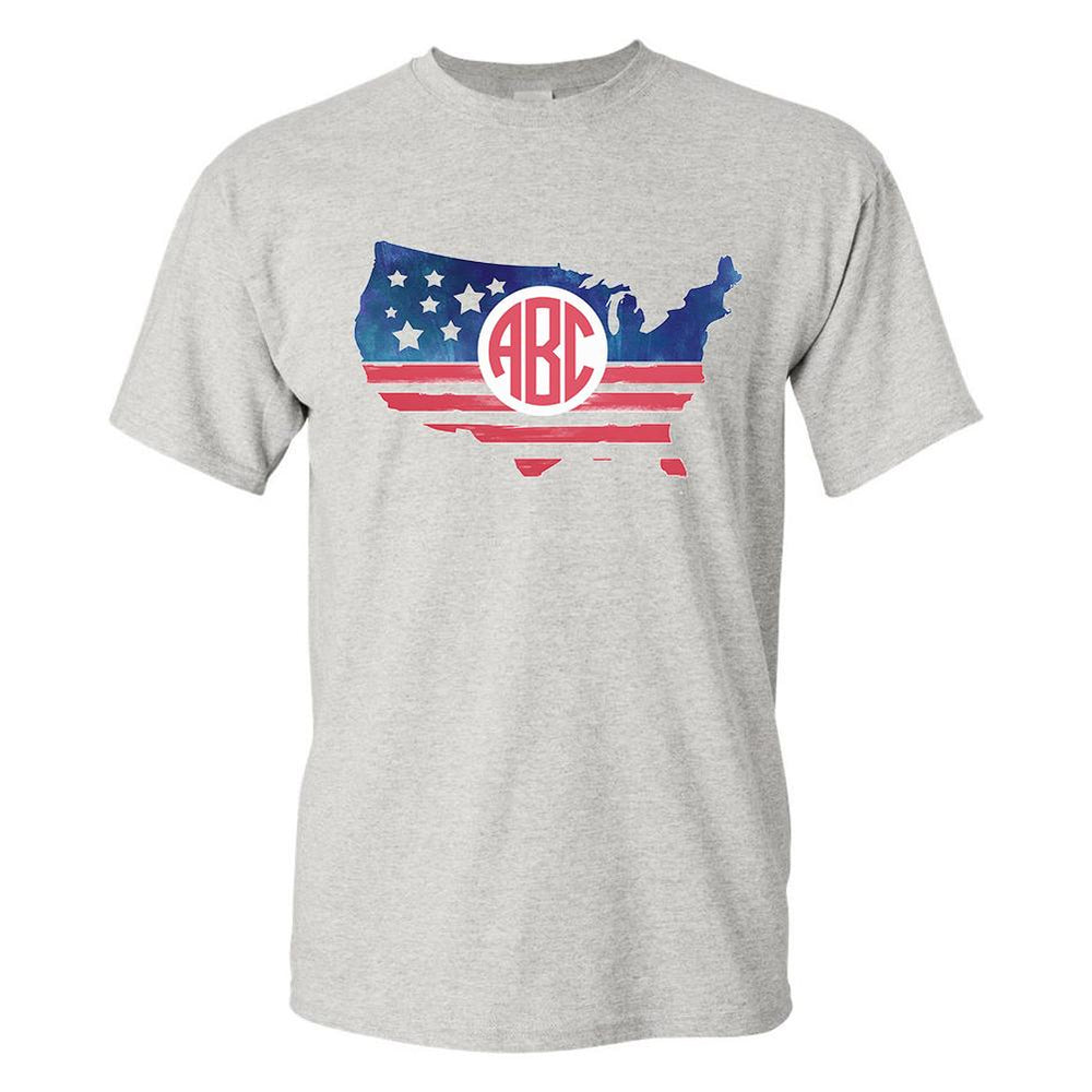 Monogrammed Patriotic USA Map T-Shirt Fourth of July