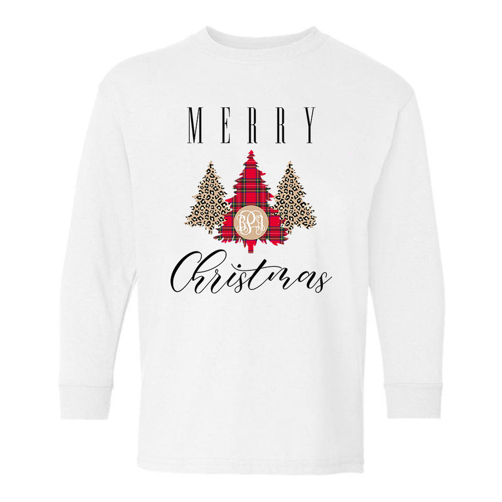Kids Monogrammed 'Merry Christmas' Pattern Long Sleeve T-Shirt