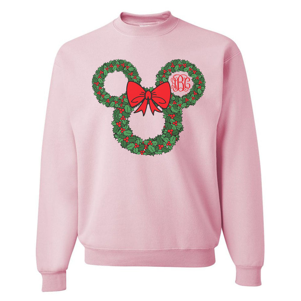 Monogrammed 'Minnie Christmas Wreath' Crewneck Sweatshirt