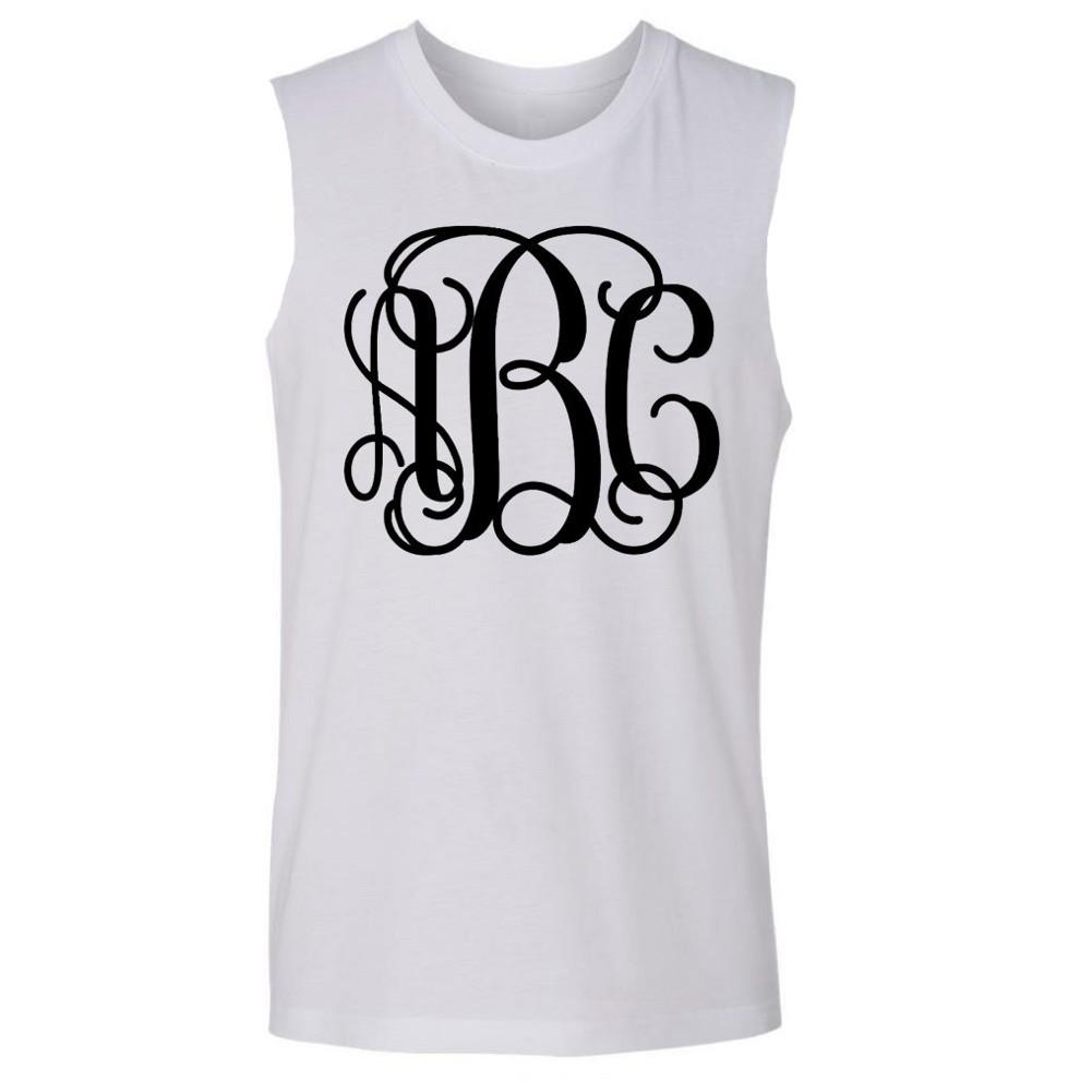 Ladies cut sleeveless Fitness Tank top with Big Monogram