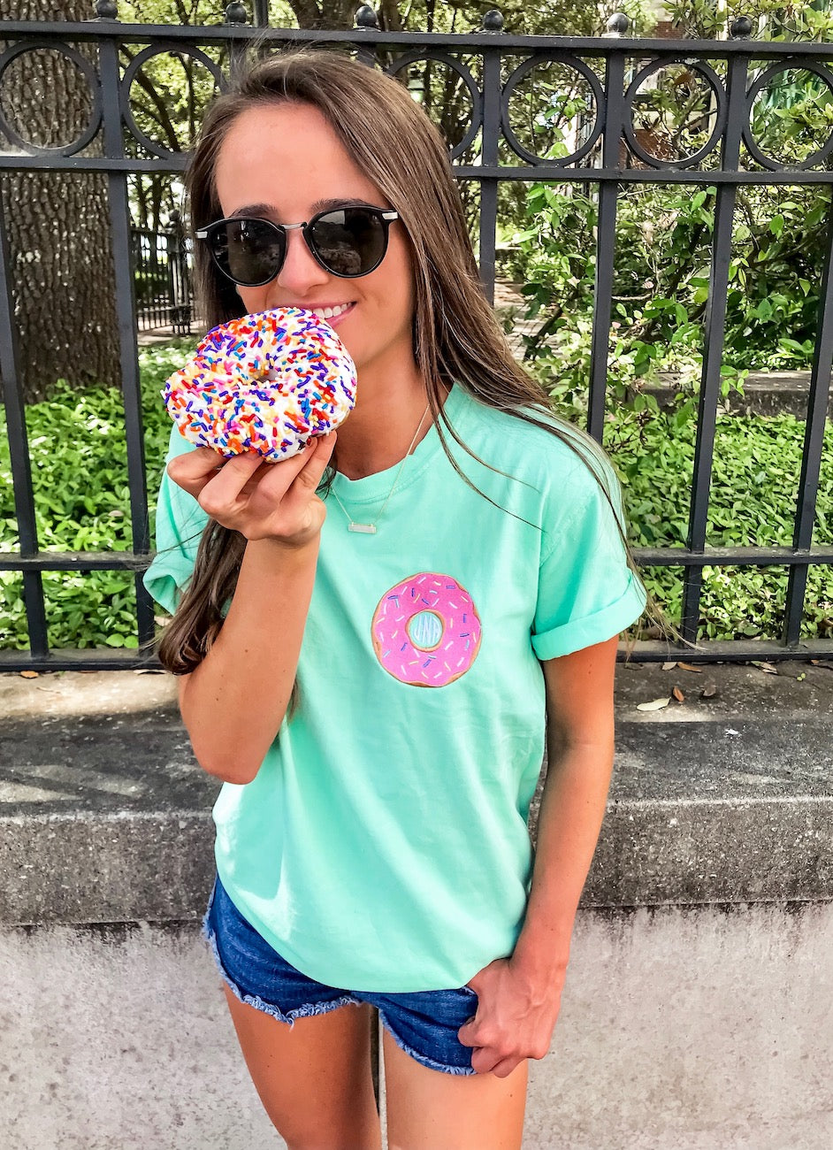 Monogrammed Embroidery Monogram Donut Comfort colors tee