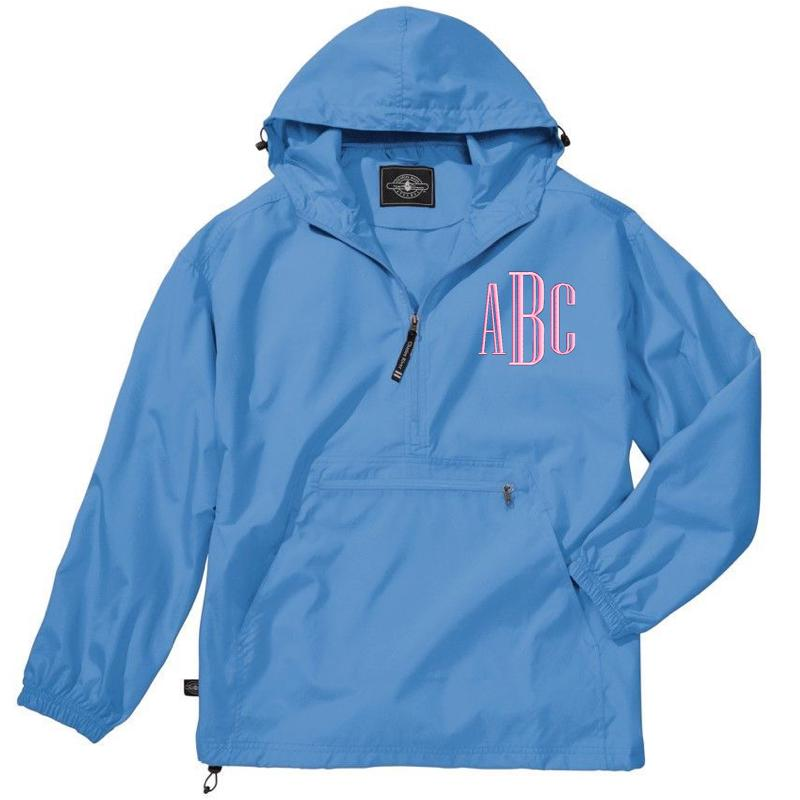 Light Blue Lightweight Unlined Monogram Rain Jacket with Pink Thread Monogram