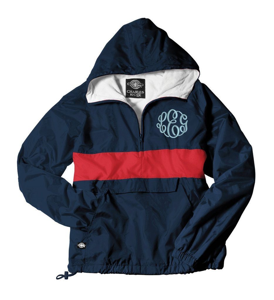 Navy & Red Mongrammed jacket