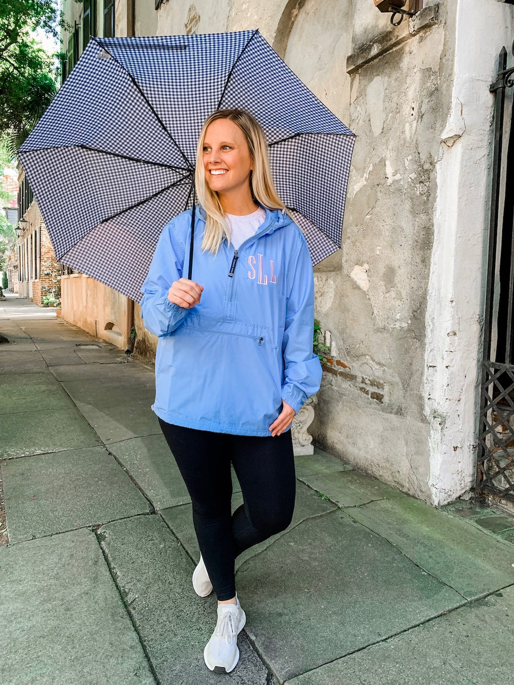 Shelby Lowery- Light Blue Monogrammed Unlined Rain Jacket