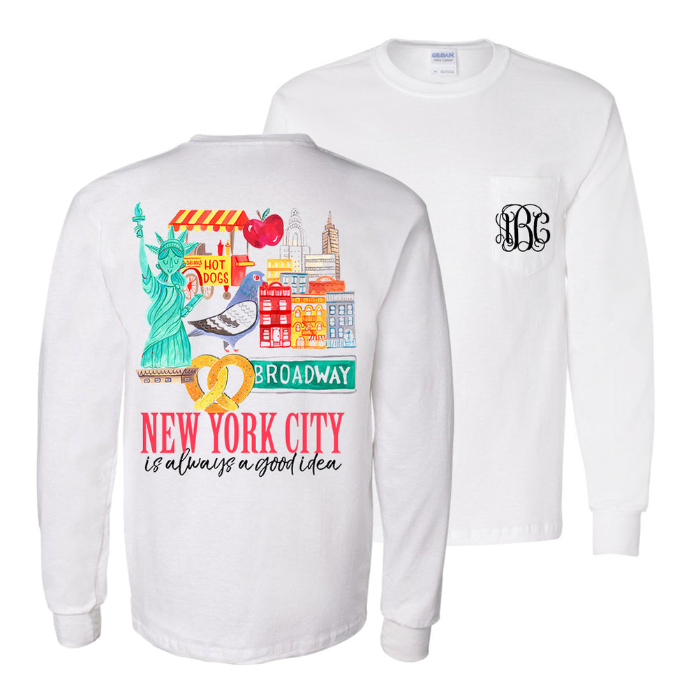 Monogrammed NYC New York City Trip Vacation Front & Back Shirt