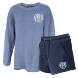 Monogrammed Corded Crew and Navy Sweat Shorts Lounge Set Package