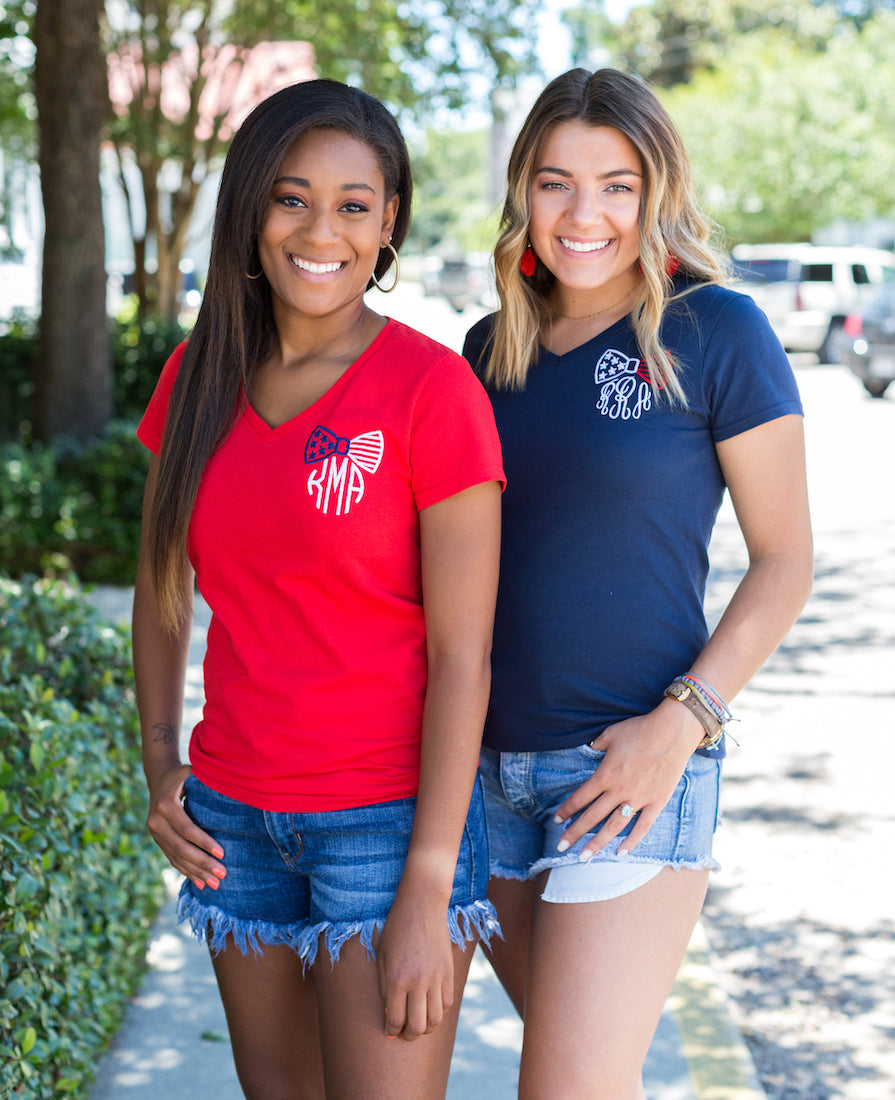 Kristen Brown 4th Of July Monogram V-Neck