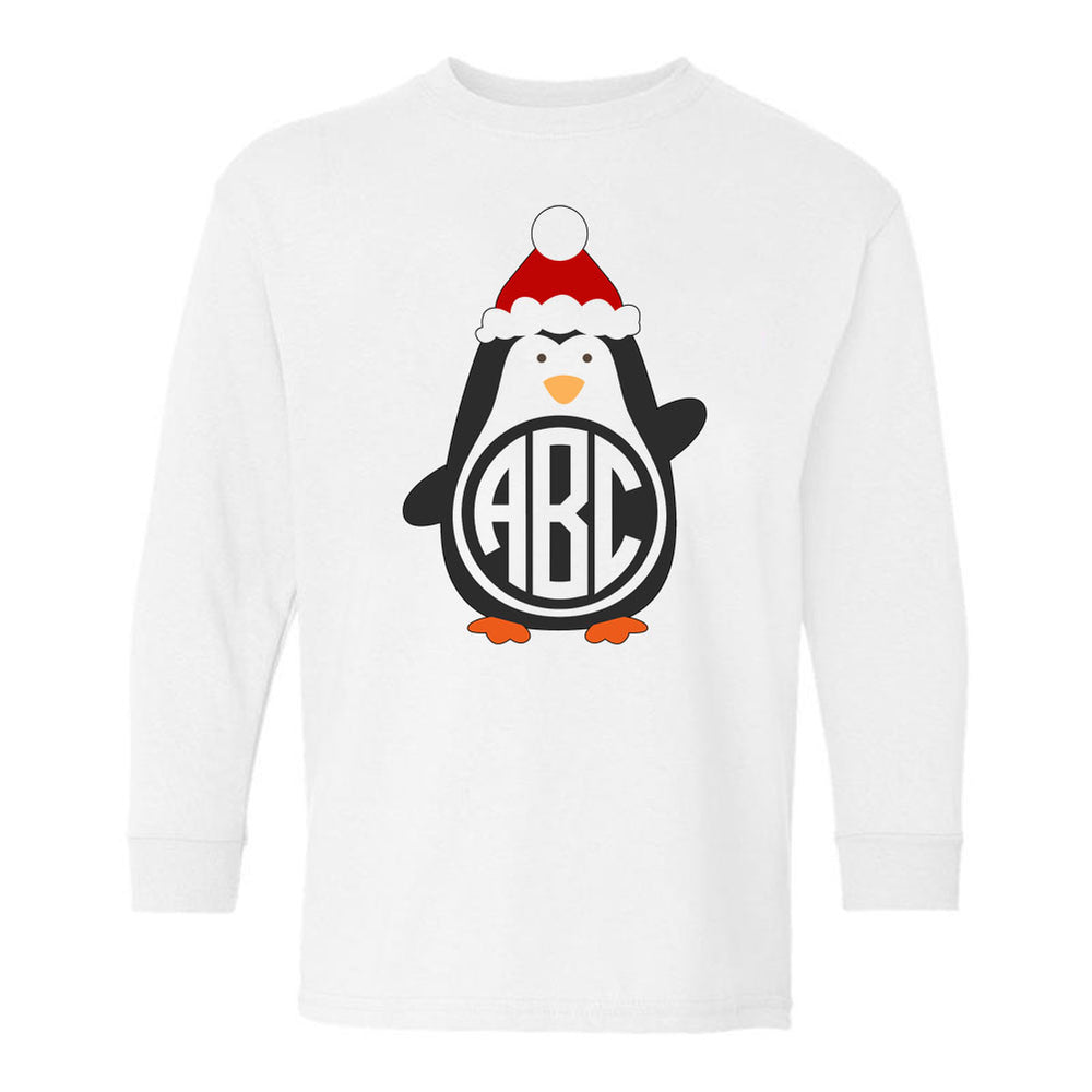 Kids Monogrammed 'Penguin' Long Sleeve T-Shirt