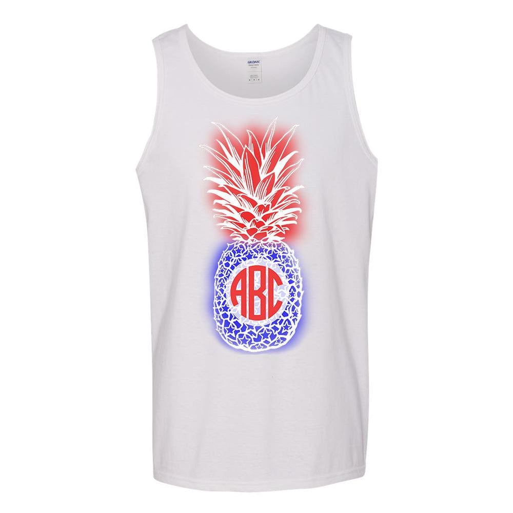 Monogrammed Patriotic Pineapple Tank Top Fourth of July