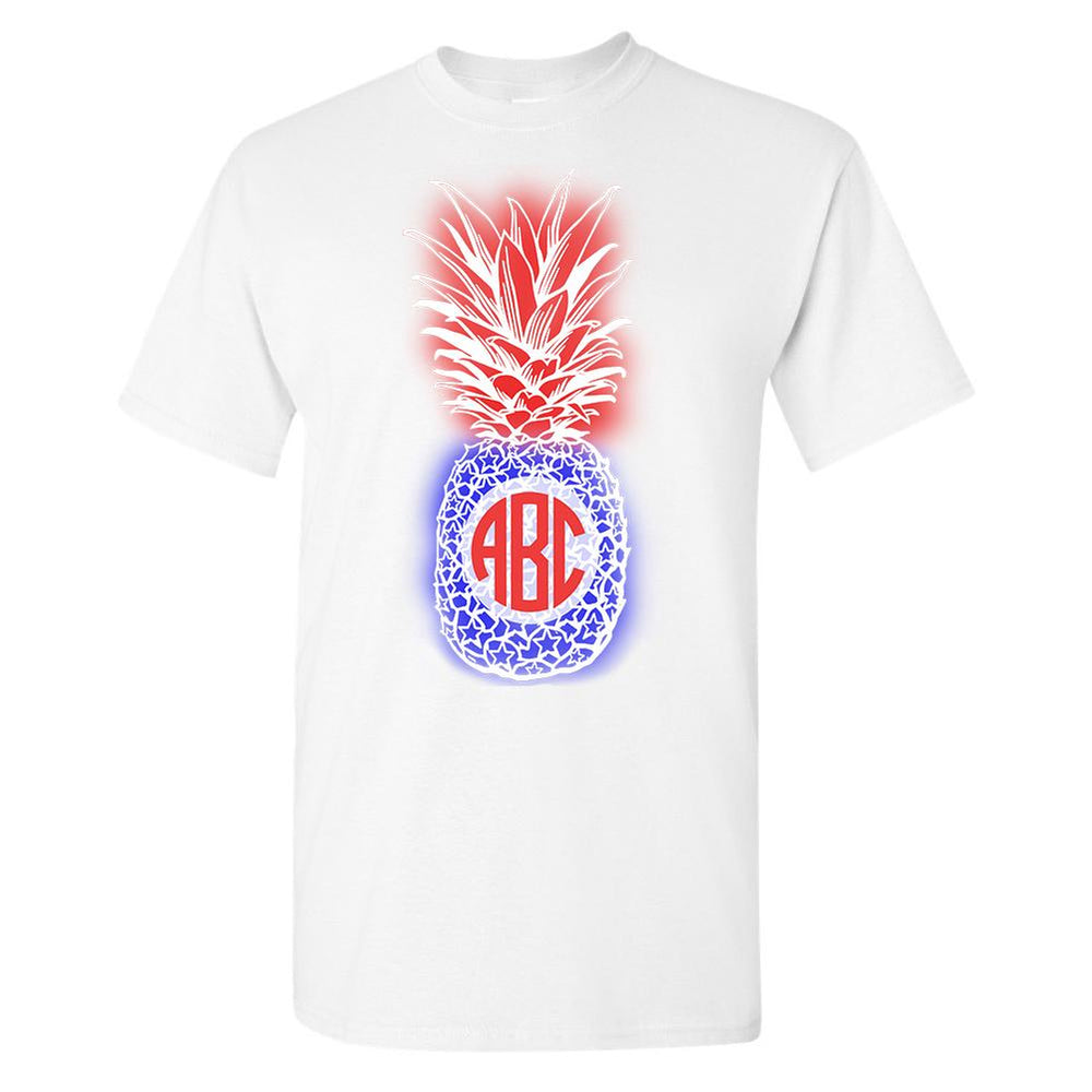 Monogrammed Patriotic Pineapple T-Shirt Fourth of July