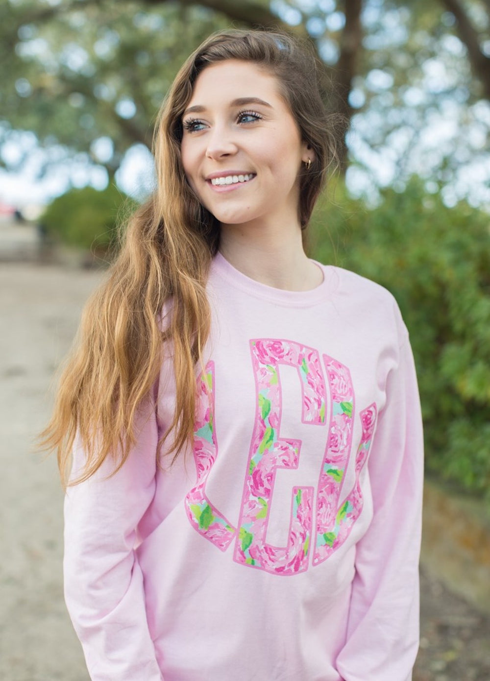 Monogrammed Lilly Big Print Long Sleeve T-Shirt