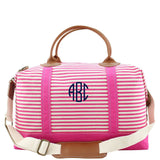 Monogrammed Striped Canvas Weekender Bag