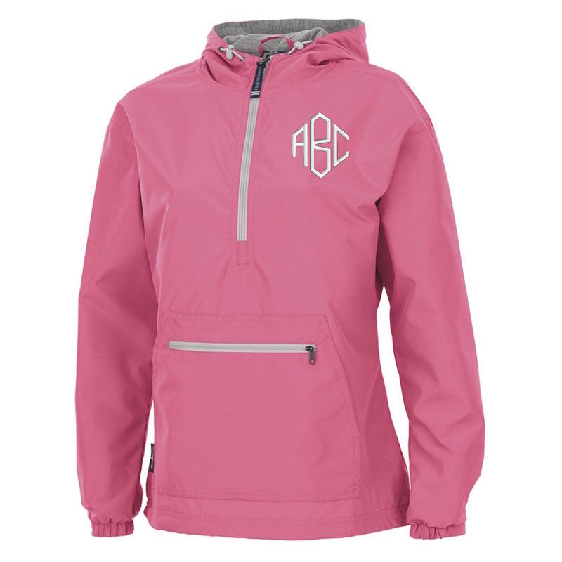 Monogrammed Neon Pink Rain Jacket ABC white diamond monogram