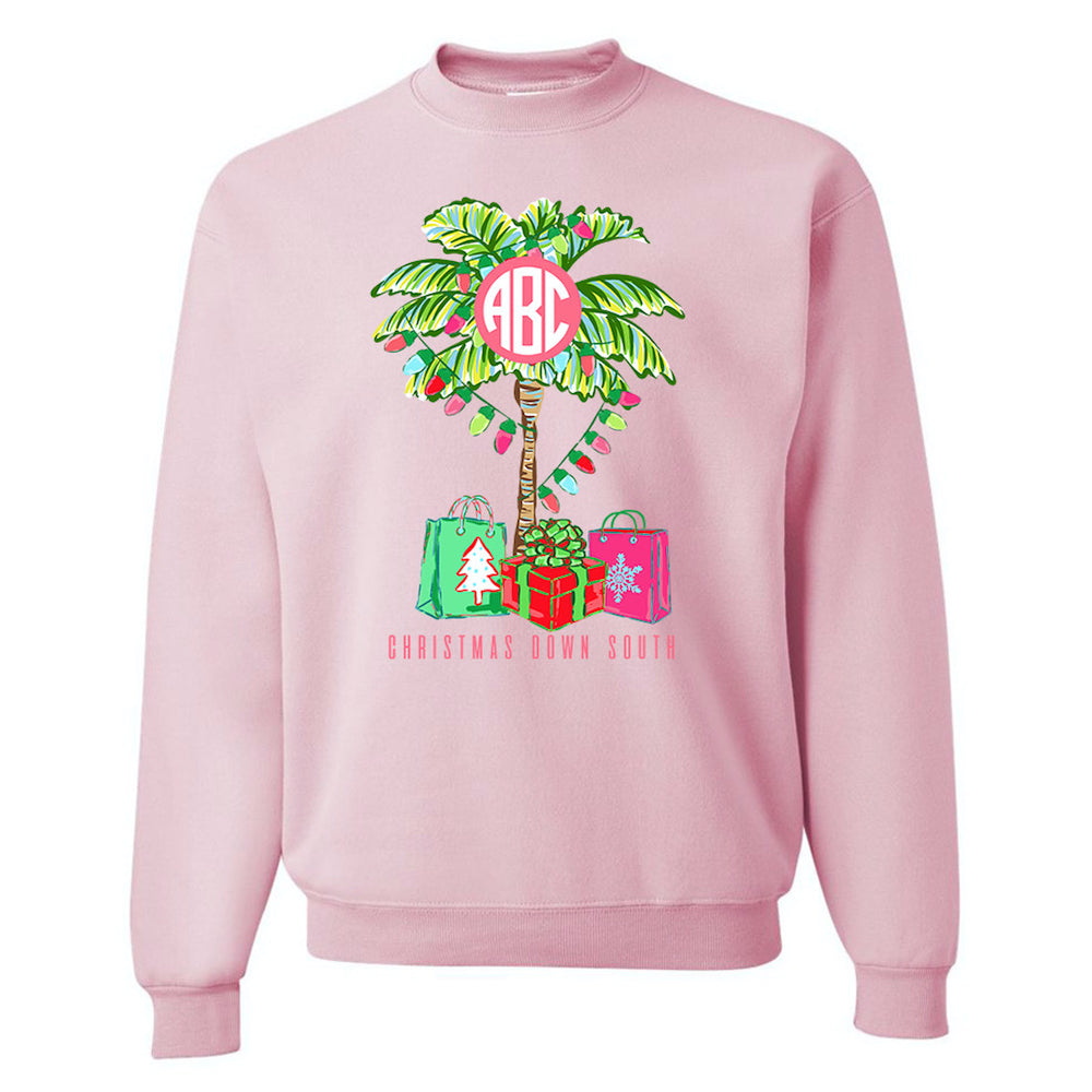 Pink Southern Christmas Palm Tree Sweatshirt