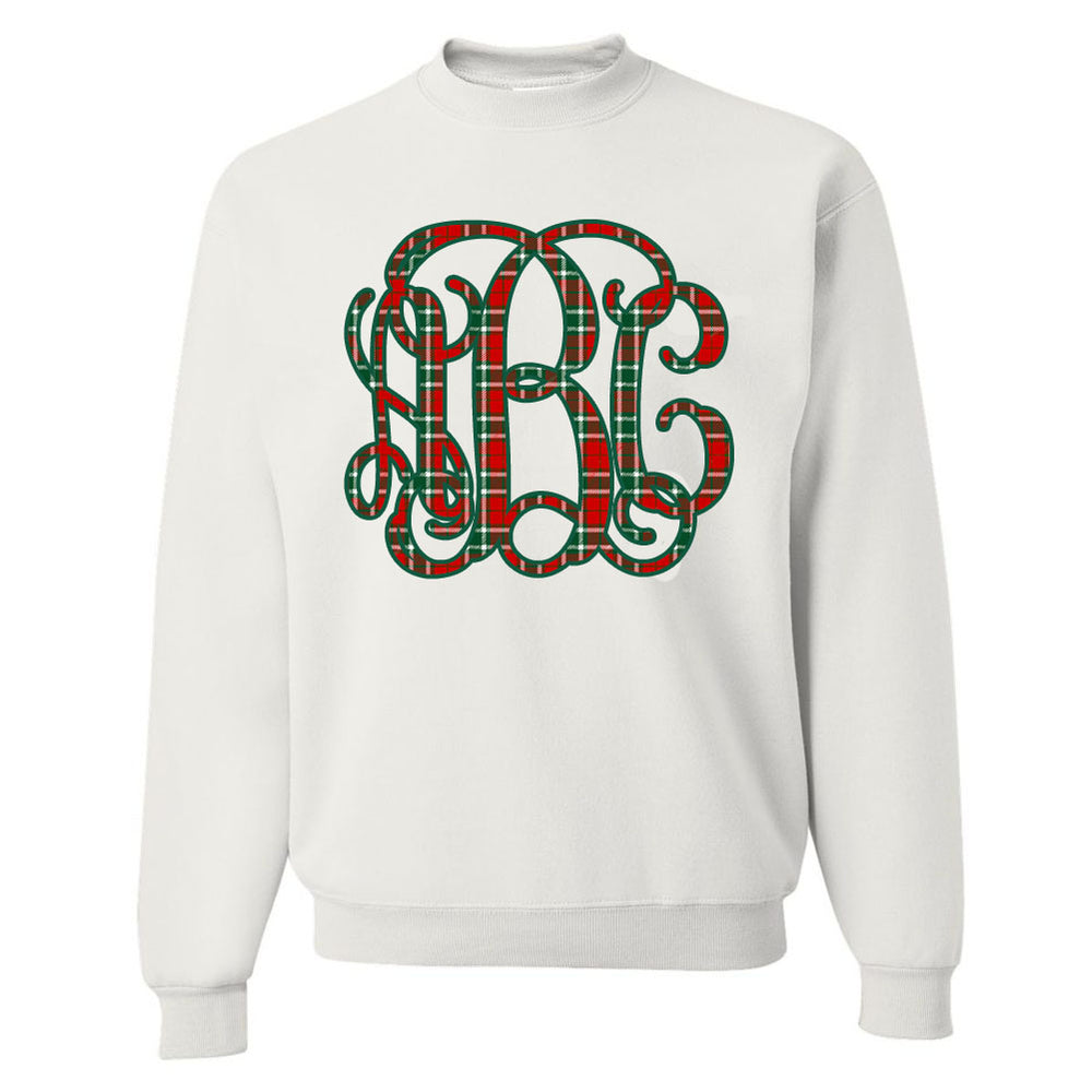 Monogrammed 'Christmas Plaid' Big Print Crewneck Sweatshirt