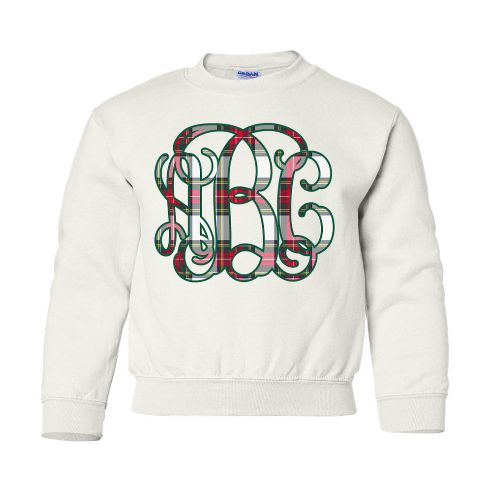 Kids Monogrammed 'Christmas Plaid' Crewneck Sweatshirt