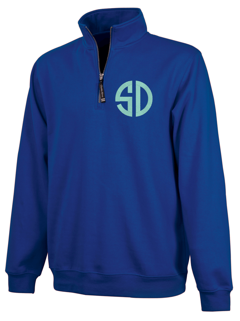 Monogrammed Quarter Zip Sweatshirt with Pockets