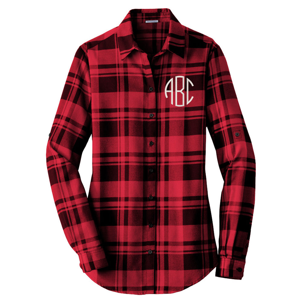 Monogrammed Plaid Flannel Tunic