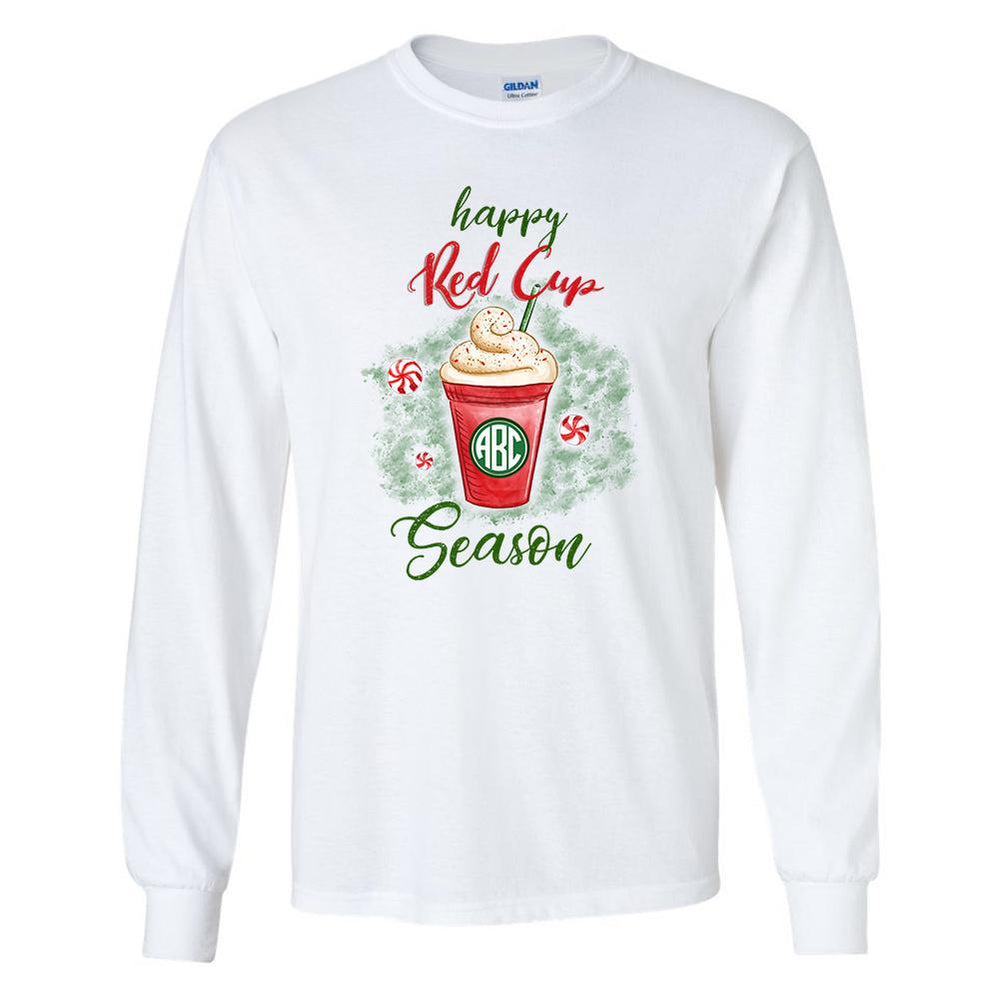 Monogrammed Happy Red Cup Season Starbucks Long Sleeve Shirt Holidays