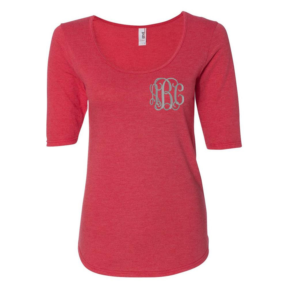 Monogrammed Half-Sleeve Scoop Neck T-Shirt