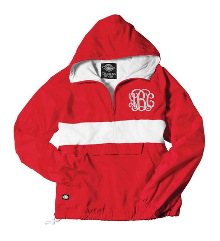 Red Charles river jacket with monogram