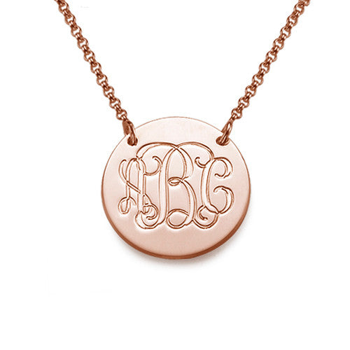 Rose Gold Monogrammed Disc Necklace