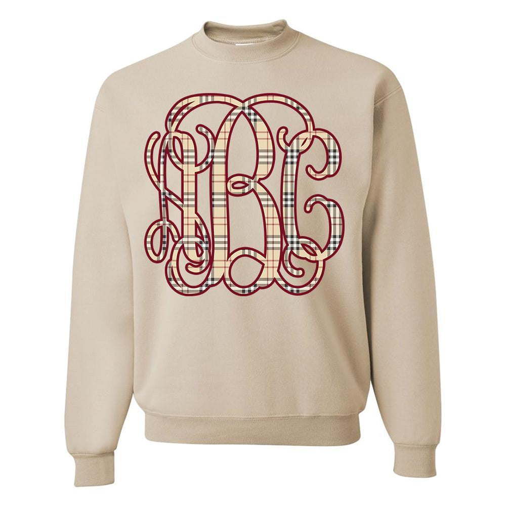 Monogrammed Plaid Burberry Crewneck Sweatshirt