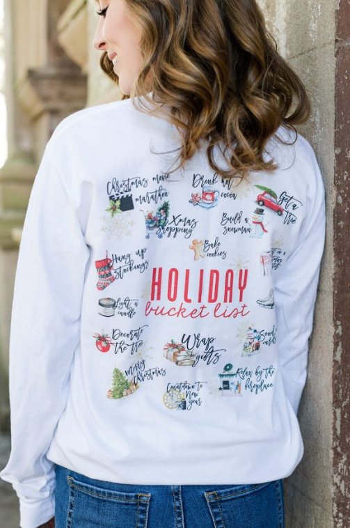 Monogrammed Holiday Christmas Bucket List Front & Back Long Sleeve Shirt