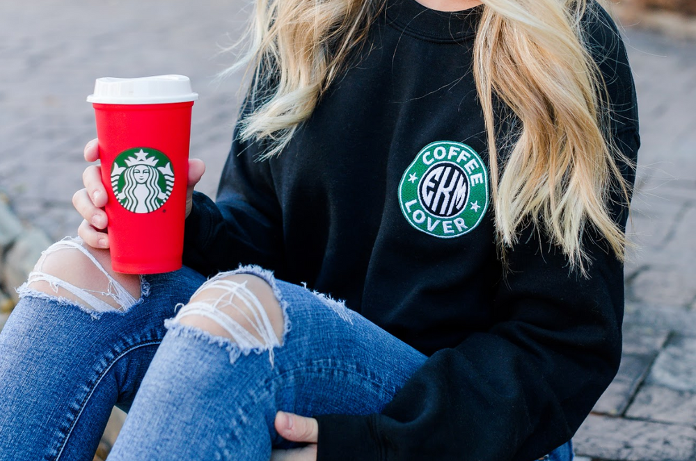 Monogrammed Starbucks Logo Coffee Lover Crewneck Sweatshirt