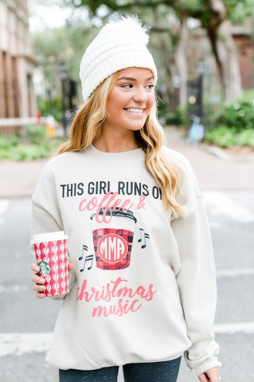 Monogrammed This Girl Runs On Coffee & Christmas Music Crewneck Sweatshirt