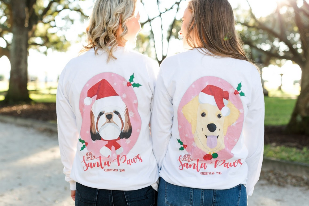Monogrammed Personalized Santa Paws Dog Front & Back Shirt Christmas Holiday Dog Puppy