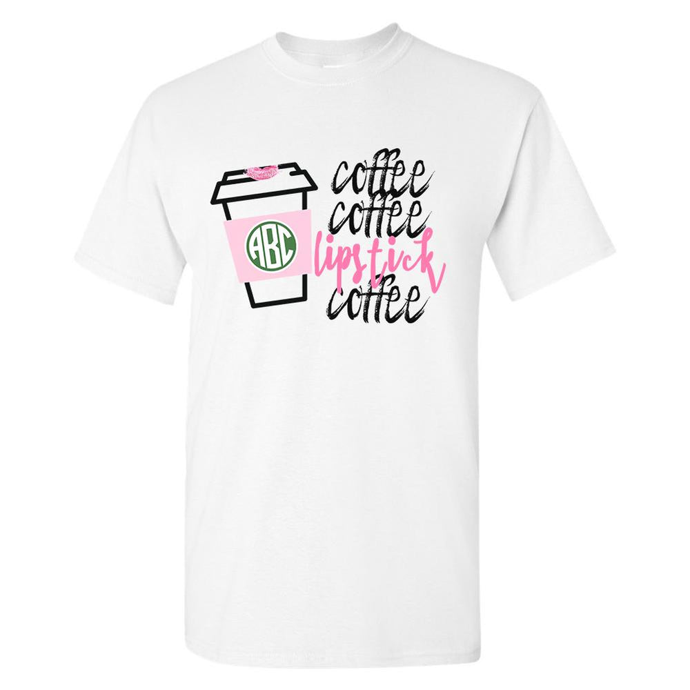 Monogrammed Coffee & Lipstick Starbucks Short Sleeve T-Shirt
