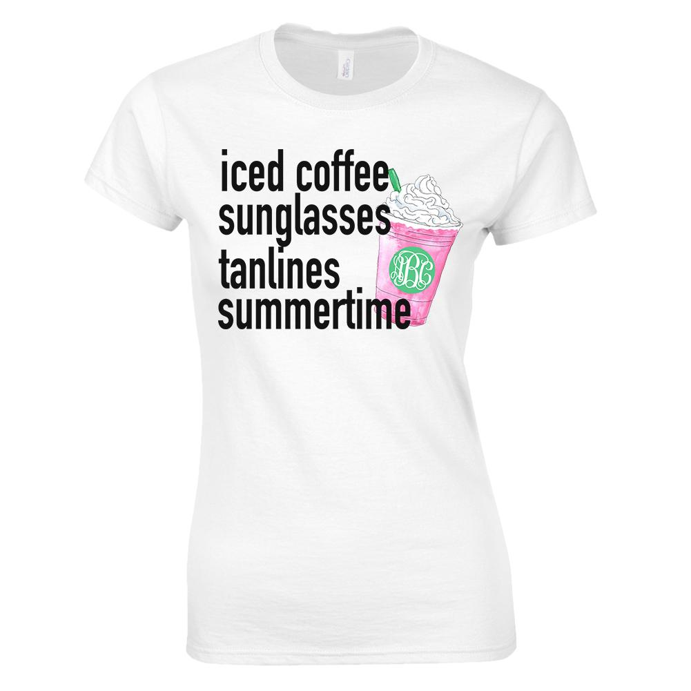Monogrammed Pink Iced Coffee Summertime Ladies Fit Shirt