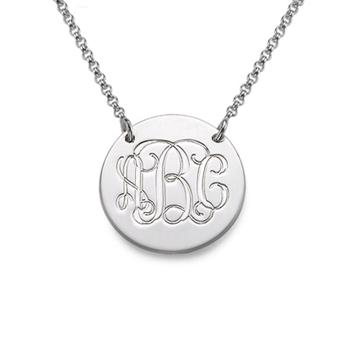 Monogrammed Silver Disc Necklace