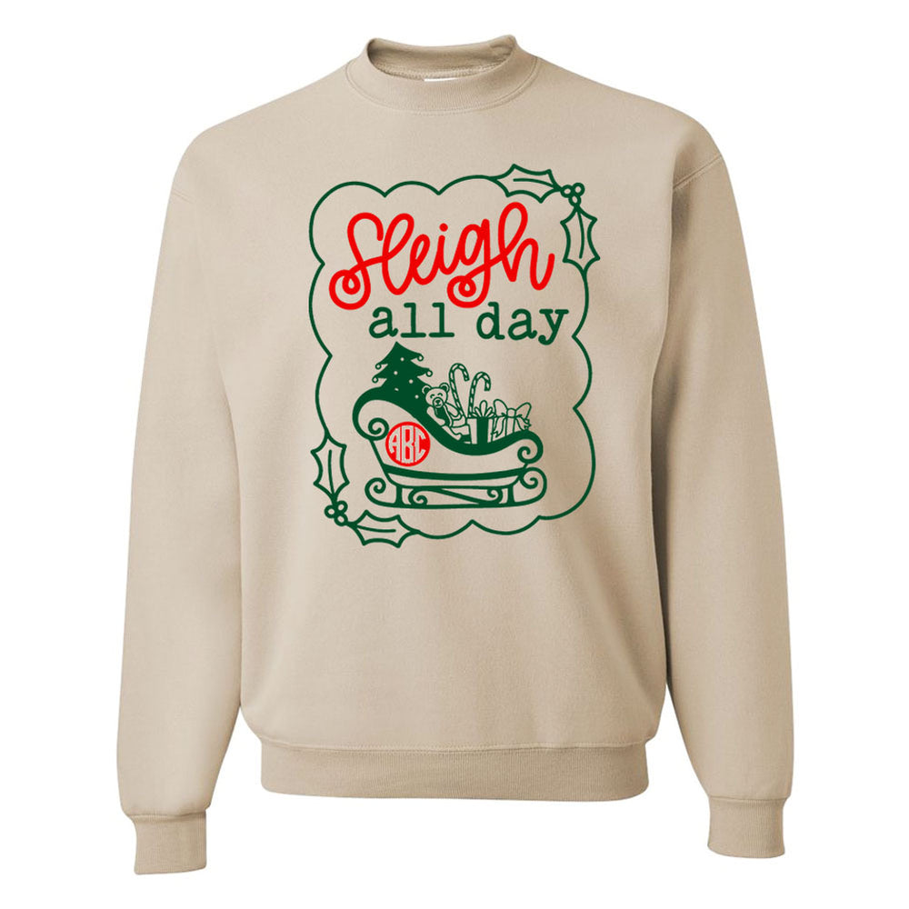 Monogrammed 'Sleigh All Day' Crewneck Sweatshirt