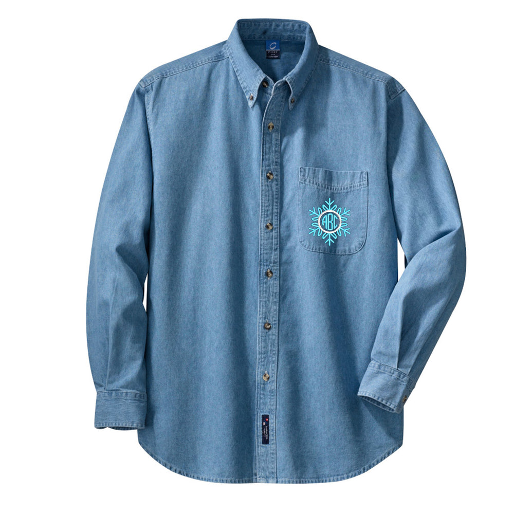 Monogrammed 'Snowflake' Oversized Denim Shirt