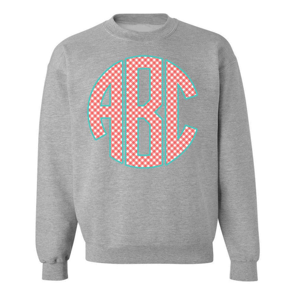 Monogrammed Gingham Grey Red Teal Crewneck Sweatshirt