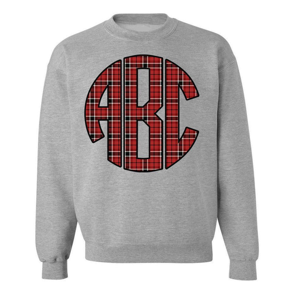 Monogrammed Plaid Red Black Crewneck Sweatshirt