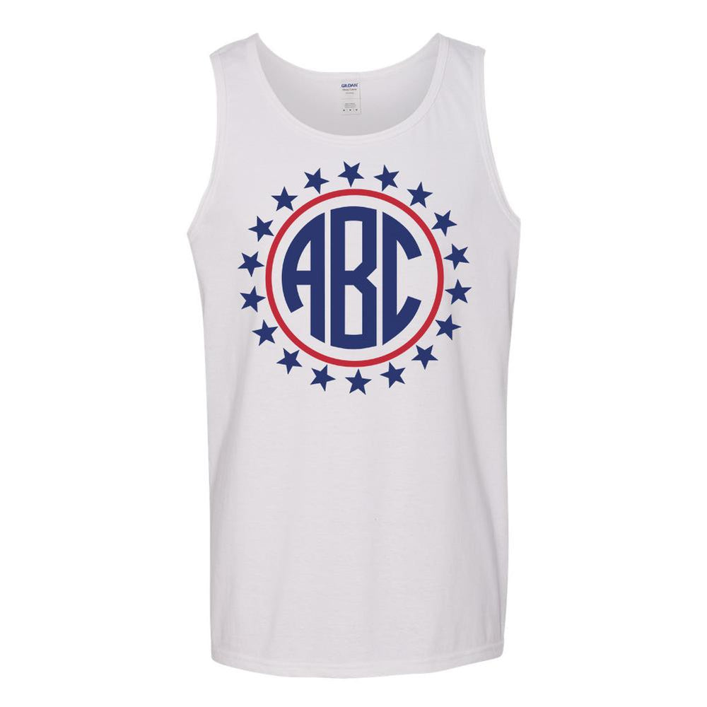 Monogrammed Stars Patriotic Tank Top Fourth of July