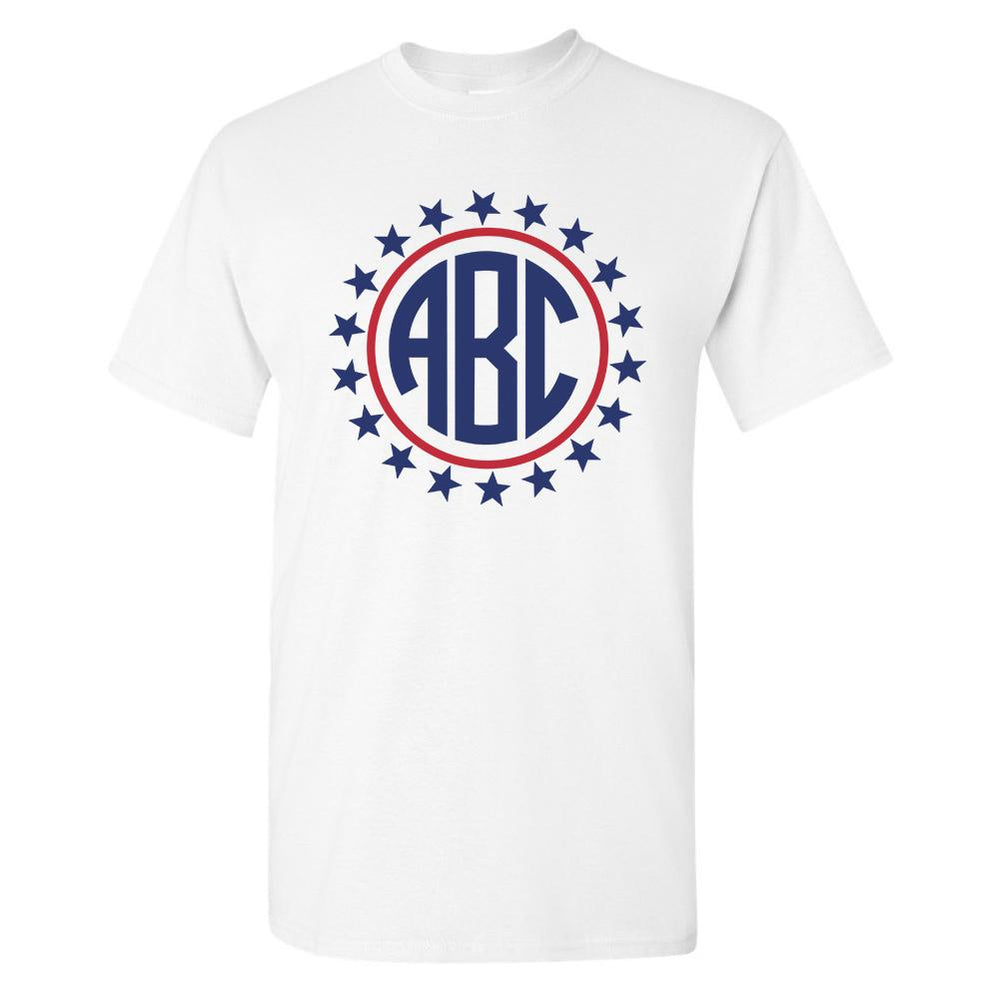 Monogrammed Patriotic Stars T-Shirt Fourth of July