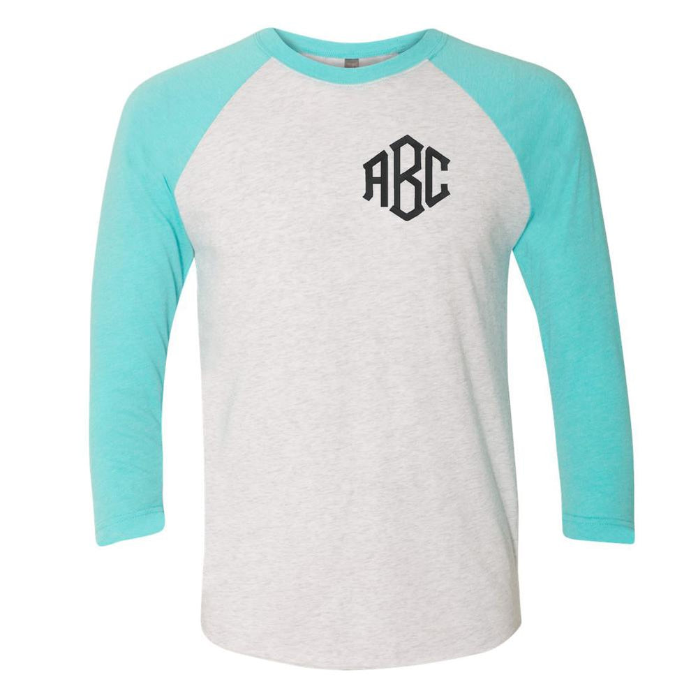 Teal and White MOnogrammed Baseball Tee