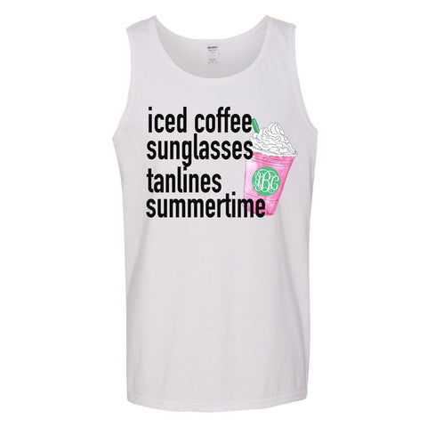 Monogrammed 'Summer Iced Coffee' Tank Top
