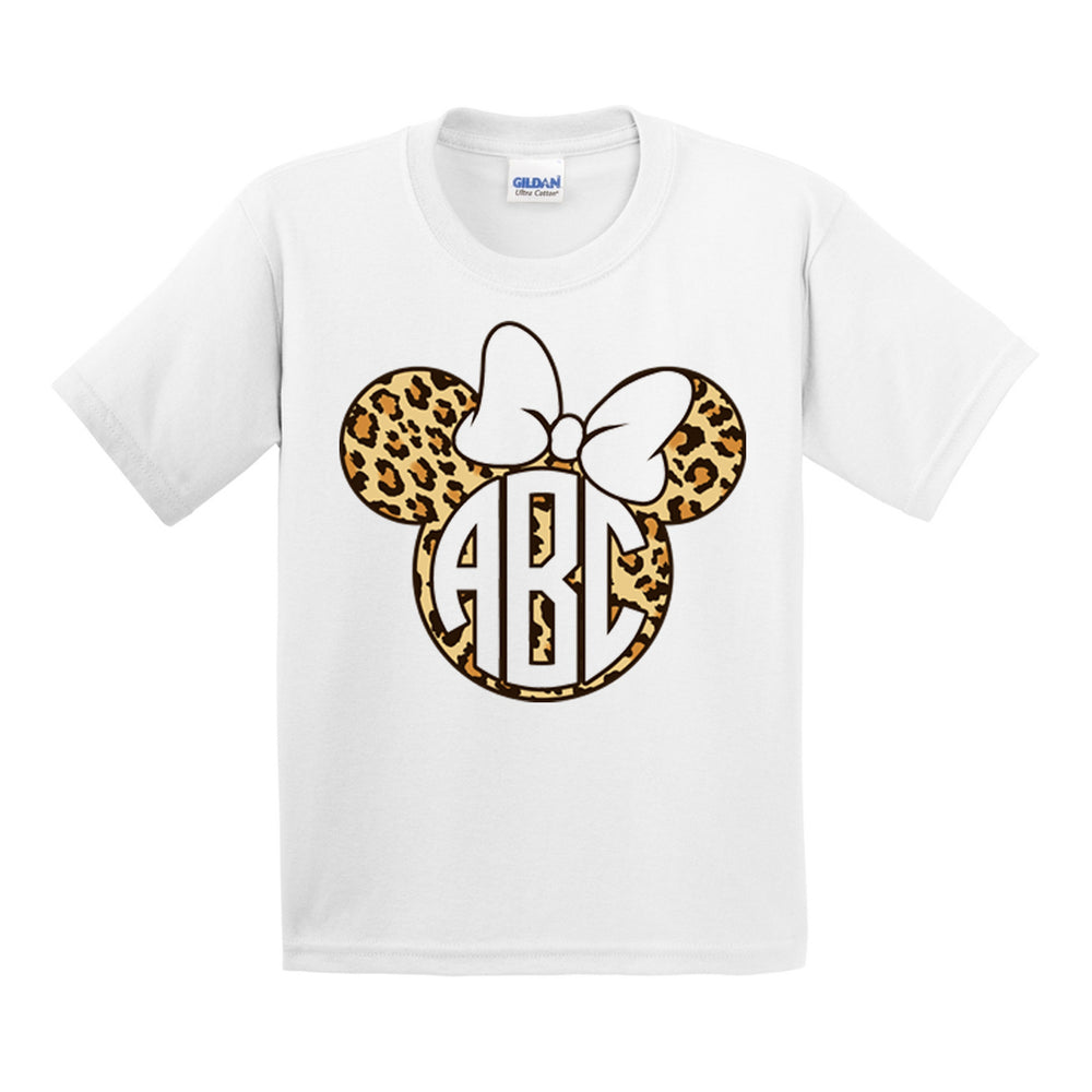 Kids Monogrammed 'Leopard Minnie Mouse' T-Shirt