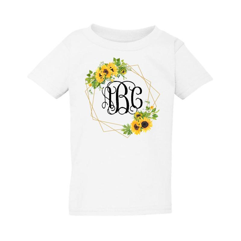 Kids Monogrammed 'Sunflower Frame' T-Shirt