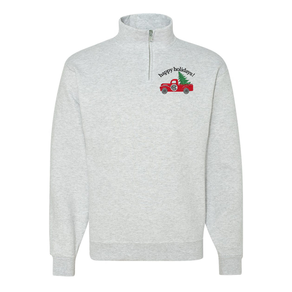 Monogrammed 'Holiday Truck' Quarter Zip Sweatshirt