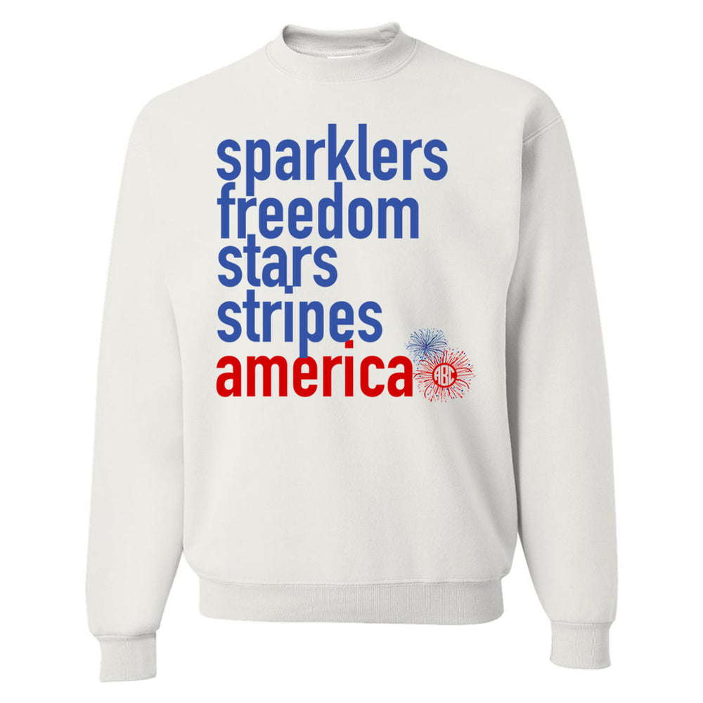 Monogrammed Sparklers America 4th of July Sweatshirt