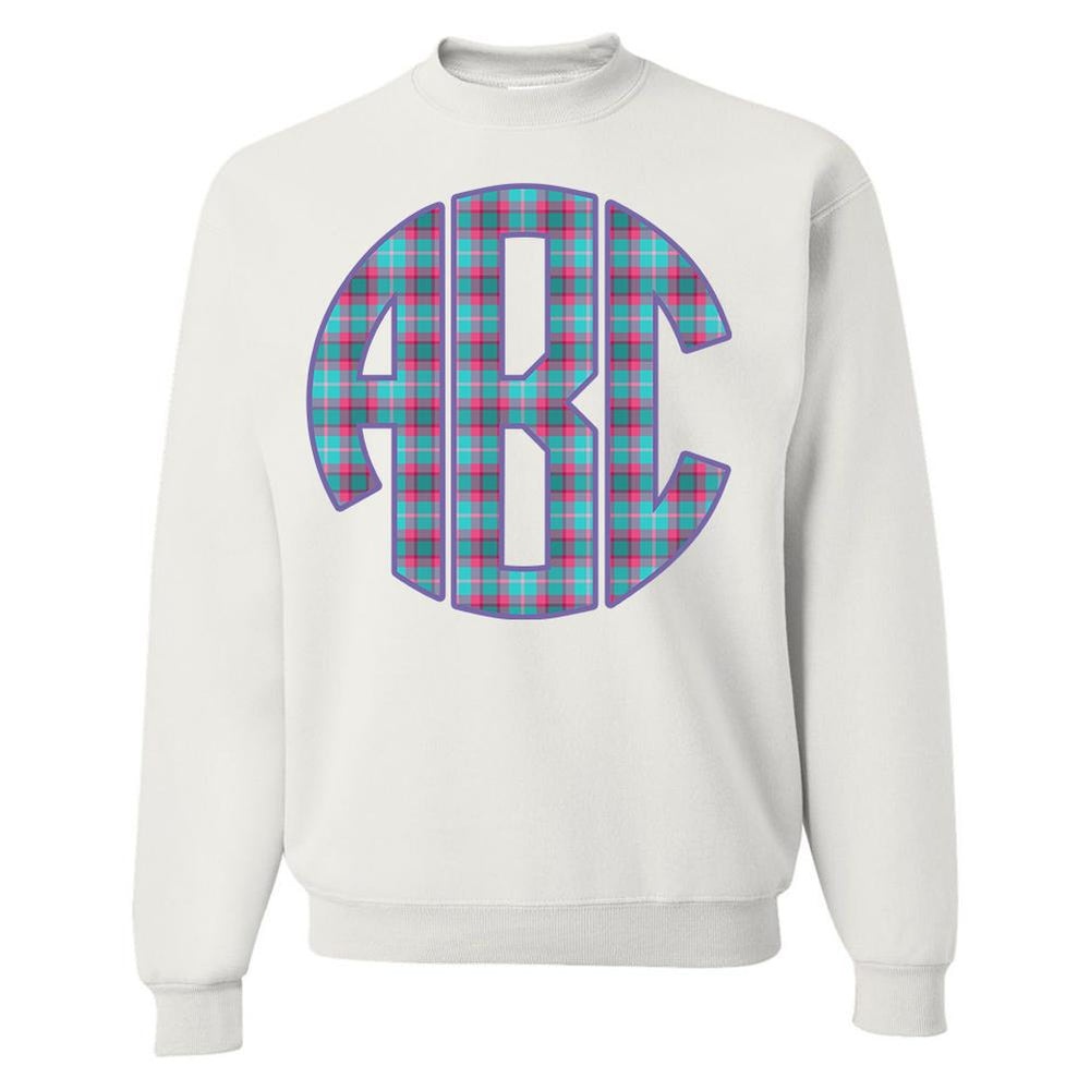 Monogrammed Plaid White Pink Purple Crewneck Sweatshirt