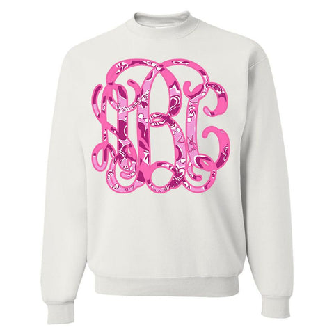 Monogrammed Lilly Sorority Big Print Crewneck Sweatshirt