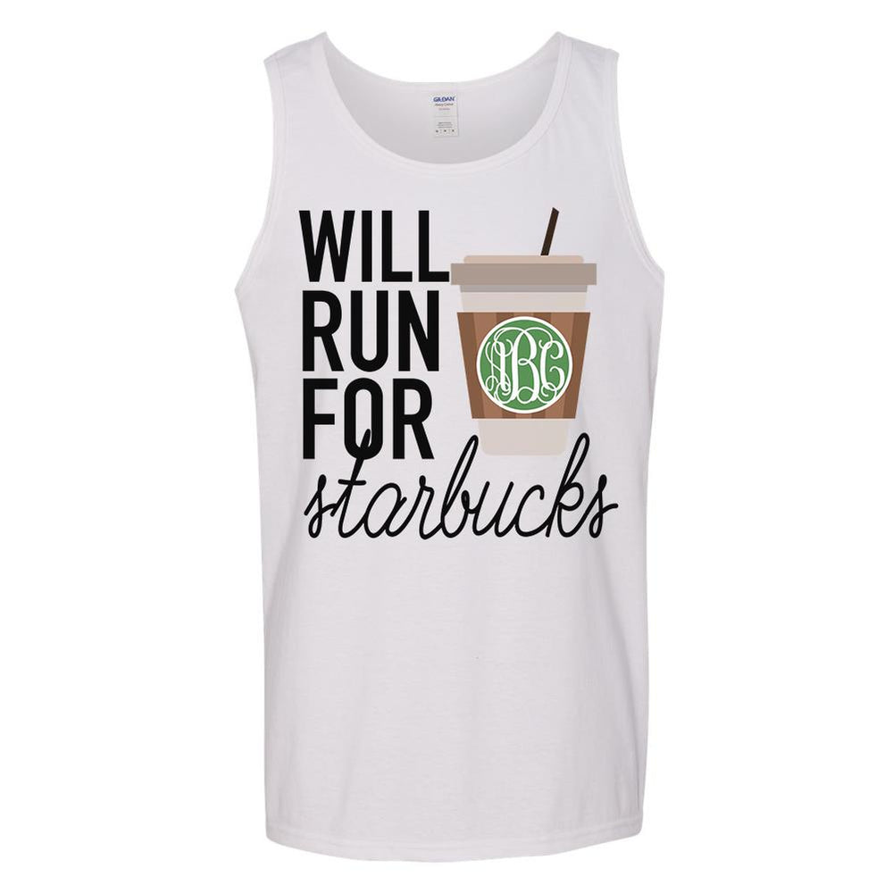 Monogrammed Will Run For Starbucks Tank Top