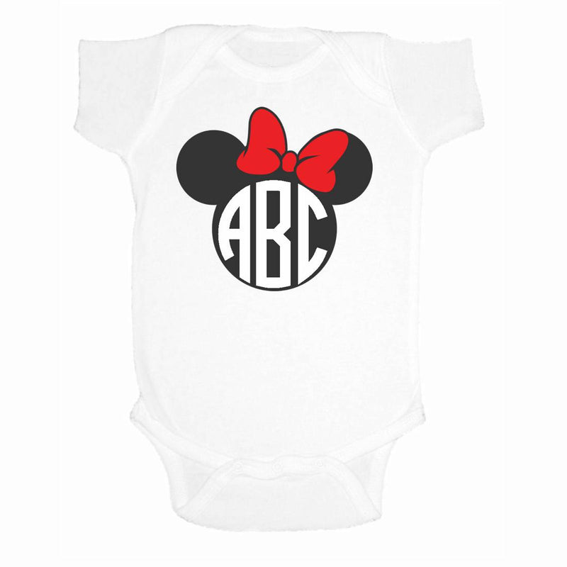 373a470b Monogrammed Infant 'Minnie Mouse' Onesie. $ 23.95. Dress your little one  like her favorite princess with Disney monogrammed clothing.